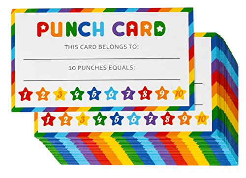Juvale Punch Card for Classroom Kids Rewards 60 Pack