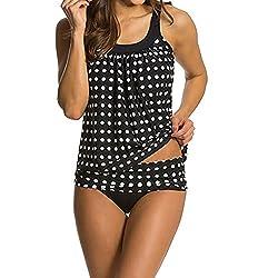 Amofiny Women S Fashion Swimwear Plus Size Tankini Bikini Set Push Up Padded Swimsuit Bathing Suit Black