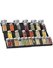 """QIZENME Spice Rack, Plastic Spice Drawer Organizer for Kitchen Drawer Cabinets- Adjustable 4 Slanted Tier Spice Storage Organizer Insert for Drawer Kitchen, Expands 12""""to 23-1/4""""W, 2 Pack Black"""