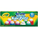 Crayola Non-Toxic Washable Kids Tempera Paint Set, 2 oz Bottle, Assorted Color, Set of 10