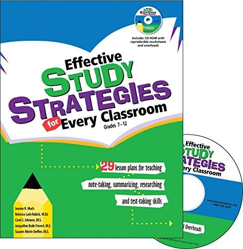 Effective Study Stategies for Every Classroom: Grades 7-12: 29 Lesson Plans for Teaching, Note-taking, Summarizing, Researching, and Test Taking Skills by Jeanne R. Mach (2009-02-19)