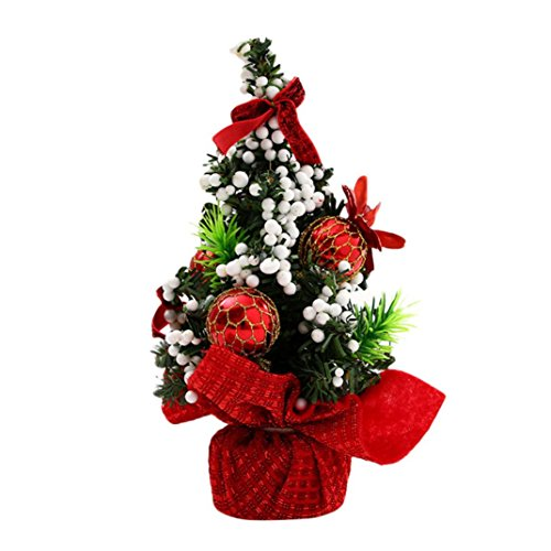 Vanvler Merry Christmas Tree Bedroom Desk Decoration Xmas Tree Children Toy Gift Office Home Decoration (Red)