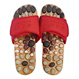 Healthcare Natural Cobblestone Foot Massage pebble massage slippers plantar acupuncture points Shoes , red , 46