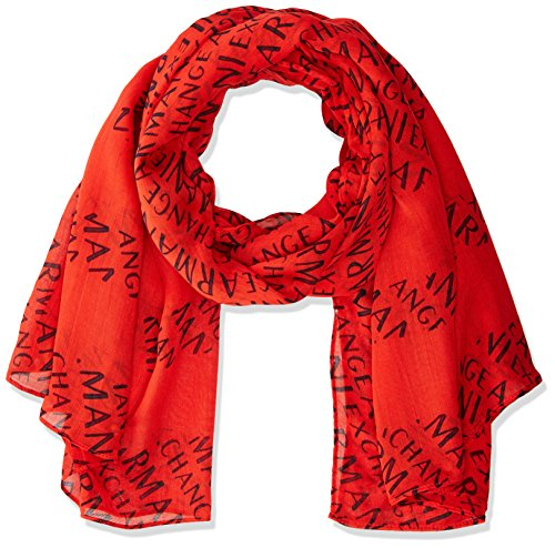 A|X Armani Exchange Women's All Over Logo Scarf, Poppy red/Navy, One Size