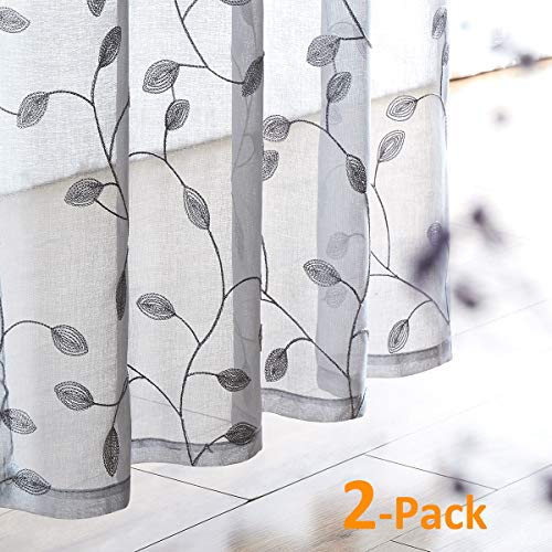 Grey Sheer Embroidered Curtains for Bedroom 84 inches Long Floral Leaf Window Draperies for Living Room Sheers Rod Pocket 1 Pair (Inch Sheer Curtains 84)