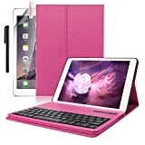 iPad Pro 9.7 Keyboard + Leather case ,Boriyuan Smart Case Stand Folio Cover with Detachable Wireless Bluetooth Keyboard and Screen Protector +Stylus for Apple iPad Pro 9.7 inch (Rose Red)