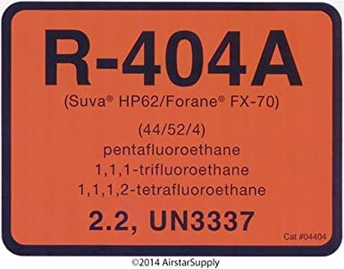 R-404A / R404A Refrigerant Labels # 04404 Color Coded