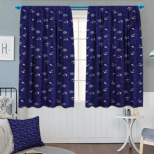 Anchor Window Curtain Drape Nautical Composition with Helm and Curved Ropes on a Navy Blue Background Decorative Curtains for Living Room 55