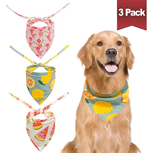 BINGPET 3Pcs Dog Bandana Scarf Washable and Reversible Triangular Bibs Pet Summer Cute Fruit Print for Small to Large Dogs