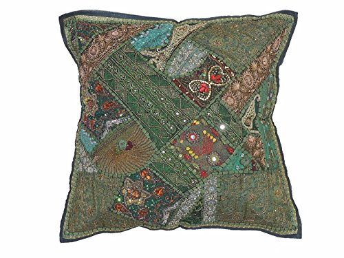 NovaHaat Fern Green Handcrafted Tapestry Floor Pillow Cover - Beaded Decorative Sari Patchwork Ethnic Indian Large Square Euro Sham ~ 26 Inch x 26 Inch