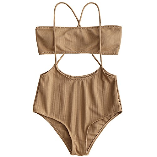ZAFUL Women's Two Piece Ribbed Bandeau Top and High Waisted Slip Bikini Bottoms (Camel, S)