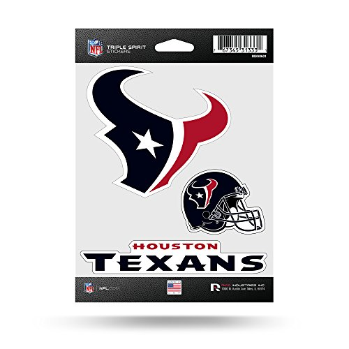 Rico Industries NFL Houston Texans Die Cut 3-Piece Triple Spirit Sticker Sheet