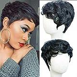 Flandi Short Natural synthetic Hair Wigs Synthetic Short Black Pixie Cut Wig Heat Resistant Fiber Hair for Black Women