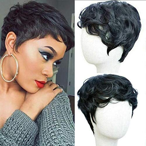 (Flandi Short Natural synthetic Hair Wigs Synthetic Short Black Pixie Cut Wig Heat Resistant Fiber Hair for Black Women)