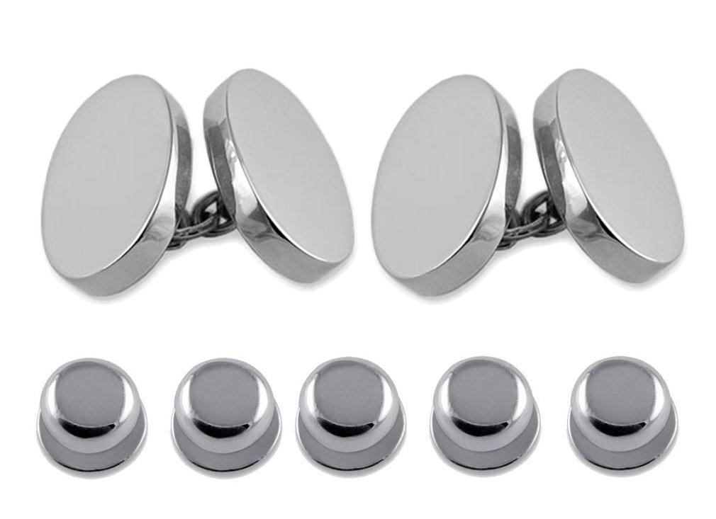 Sterling silver heavyweight double-sided oval Cufflinks Shirt Dress Studs Gift Set