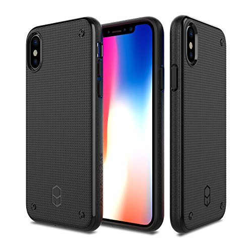 PATCHWORKS iPhone X Case, [Flexguard] Soft Slim Thin Fit Flexible TPU Anti-Slip Side Grip with Added Corner Impact Protection Cushion Cover Case for iPhone X / 10 (2017) - Matte Black