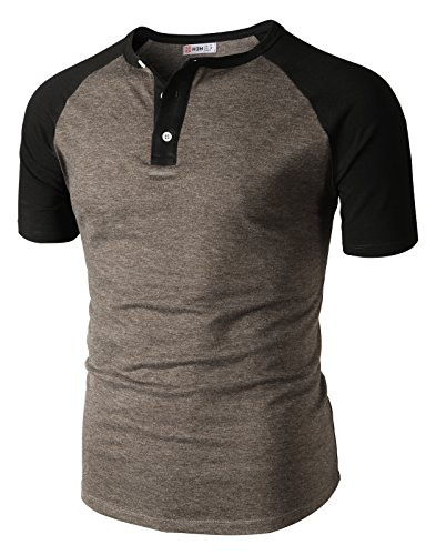 H2H Mens Casual Big Plaid Henley Short Sleeve Spandex T Shirt Tops HEATHERBROWN US M/Asia L (CMTTS0222) by H2H