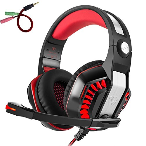 Beexcellent GM-2 Pro Gaming Over-Ear Headset with Mic, LED Lights and Volume Control Stereo Bass, Noise Cancelling, 3.5mm, for PS4 Xbox One, Laptop, PC, Tablet, Most Smartphones (Red)