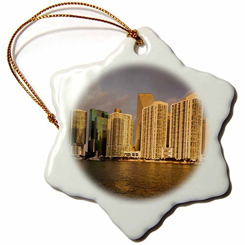 Angel Ornaments Danita Delimont - Florida - USA, Florida, Miami, city skyline from Brickell Key, dawn. - inch Snowflake Porcelain Ornament -