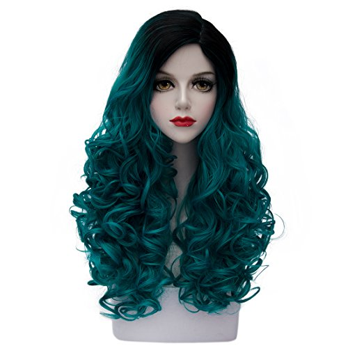 TopWigy Women's Long Curly Wave Wig Copslay Wig Fashionable Ombre Heat Resistant Costume Full Wig (Black to Turquoise) 24