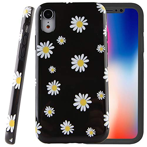 Dimaka Case for iPhone XR,Dual Layer Cute Floral Leef Daisies Flower Design for Girls,Hybrid Shockproof Hard PC Soft TPU High Impact Protective Case for iPhone XR(6, iPhone -
