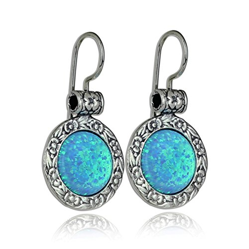 (Antique Look 925 Sterling Silver Created Blue Fire Opal Earrings with Ornate Floral Design & Secure Backs)