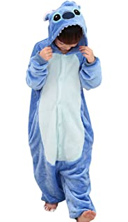 Tonwhar Kids Stitch Kigurumi Pajamas Childrens Unisex Cosplay Costume Onesie (125(height:53.14