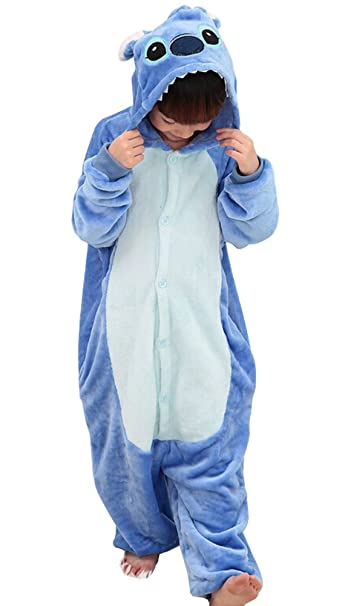 Tonwhar Kids Stitch Kigurumi Pajamas Childrens Unisex Cosplay Costume Onesie (120(height:45.27""