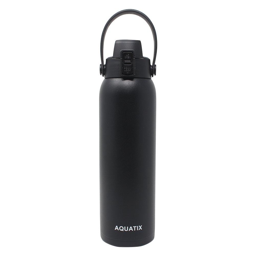 新しいAquatixブラック、32オンス純粋なステンレス鋼二重壁真空断熱スポーツウォーターボトル便利なフリップトップキャップ取り外し可能なストラップハンドル – Keeps Drinks Cold 24 hr /ホット6 HR B07BKS59HG