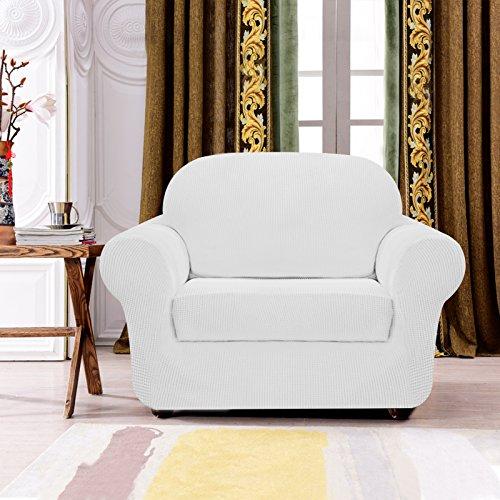 Subrtex Spandex Stretch 2-Piece Slipcovers (Chair, Off-White)