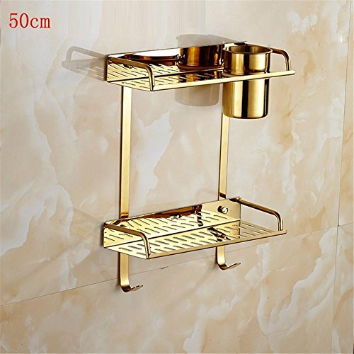 Bathroom Shelf Stainless Single Cup Double Layer Bathroom Shelf Local Gold Fashion Generous Lead Free Environmental , 3 (3 Display Tier Lead)