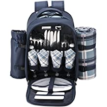 VonShef - 4 Person Blue Tartan Picnic Backpack Bag with Cooler Compartment, Detachable Bottle/Wine Holder, Fleece Blanket, Flatware and Plates