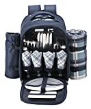 Search : VonShef - 4 Person Blue Tartan Picnic Backpack With Cooler Compartment, Detachable Bottle/Wine Holder, Fleece Blanket, Flatware and Plates