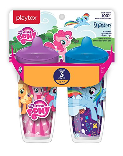 Playtex Sipsters Stage 3 My Little Pony Spill-Proof, Leak-Proof, Break-Proof Insulated Spout Sippy Cups - 9 Ounce - 2 Count (Color/Theme May Vary) -