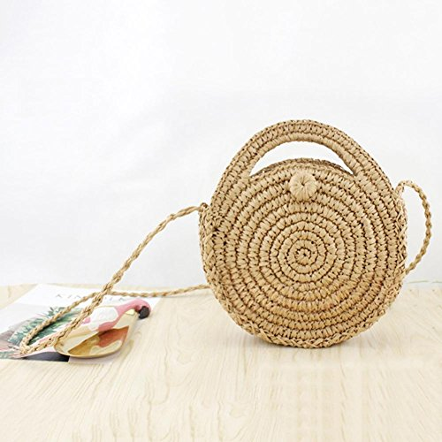 Arvin87Lyly Circular Straw Shopping Bag Handbag Rattan Braided Bag Storage Basket Beach Wicker Woman Bag Bali Girls Summer Beach Light Brown