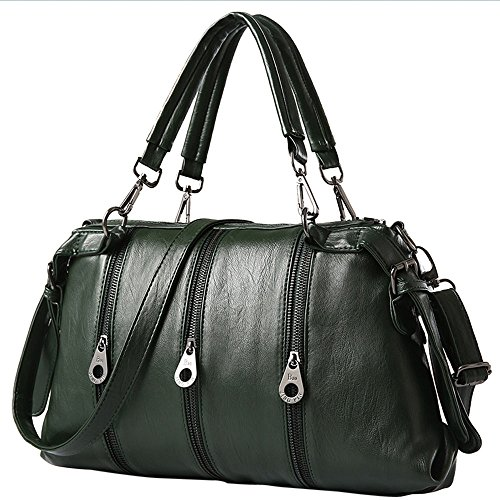 Women Handbag,Women Bag, KINGH Zipper Design Vintage PU Leather Handbag 032 Deep Green