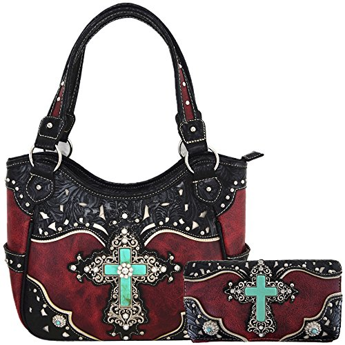 Western Rhinestone Cross Tooled Leather Totes Concealed Carry Purse Handbag Women Shoulder Bag Wallet Set (Red Set)