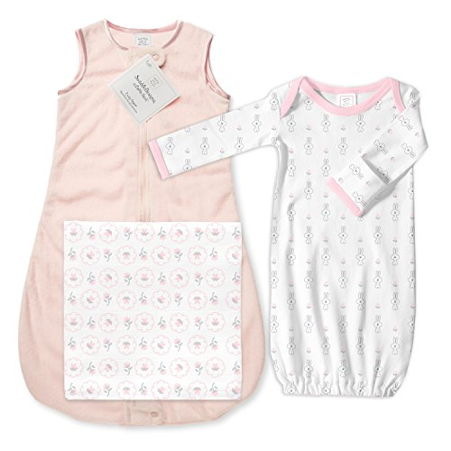 (SwaddleDesigns Baby Gift Set with Microfleece Sleeping Sack, 3 Pieces, Pastel Pink)