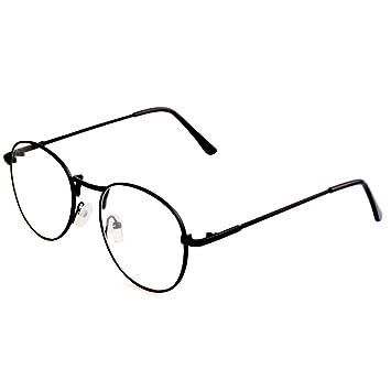 7f1493d4119d MEXUD-1Pc Retro Women Men Round Clear Lens Glasses Nerd Spectacles Eyeglass  Metal Frame (Black)