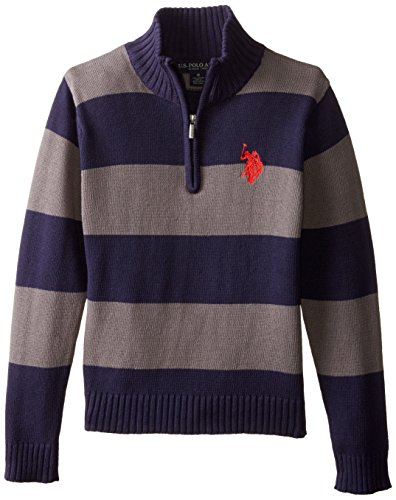 Navy 1/4 Zip Sweater (U.S. Polo Assn. Big Boys' 1/4 Zip Striped Sweater, Classic Navy,)