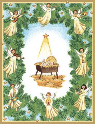 Baby in Manger Boxed Christmas Cards by Caspari