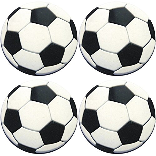 Four (4) of Soccer Ball Rubber Charms for Wristbands and Shoes