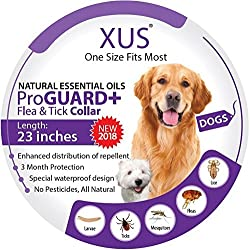 [New 2018] Dog Collar - Natural Essential Oils Flea & Tick Repellent (One Size Fits Most) 23 inch