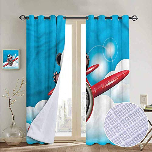 Chrome Pedal Plane - NUOMANAN Blackout Curtains 2 Panels Airplane,Cheerful Panda on a Plane,for Room Darkening Panels for Living Room, Bedroom 84