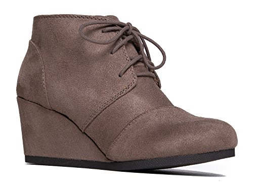 83796064e74 J. Adams Roxy Wedge Booties - Casual Lace Up Low Heel Closed Toe Ankle Boot