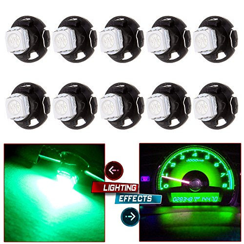 cciyu T5/T4.7 Neo Wedge LED Heater HVAC Climate Control Light Bulbs Replacement fit for 2001-2012 Dodge Ram 5500 4500 3500 Van 3500 2500 1500, 10 Pack Green