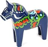 "Traditional Wooden Swedish Dala Horse - Blue 5"" (13cm)"