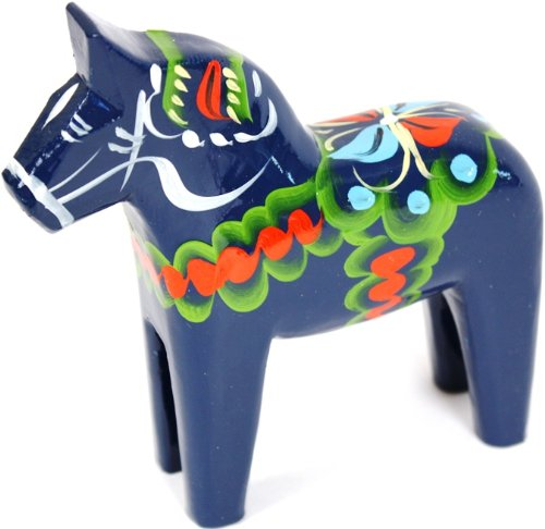 - Traditional Wooden Swedish Dala Horse - Blue 5