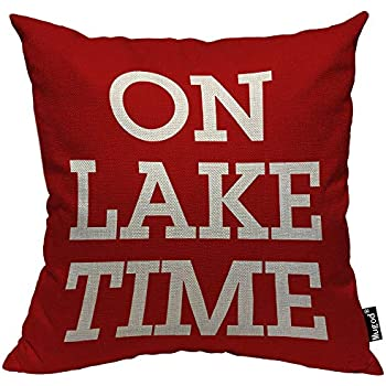 Mugod On Lake Time Throw Pillow Case Funny Lettering Leisure Time Rose Red and White Decorative Cotton Linen Square Cushion Covers Standard Pillowcase Couch Sofa Bed Men/Women 18x18 Inch
