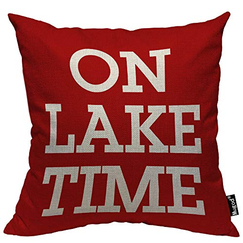 Mugod On Lake Time Throw Pillow Case Funny Lettering Leisure Time Rose Red and White Decorative Cotton Linen Square Cushion Covers Standard Pillowcase Couch Sofa Bed Men/Women 18x18 -